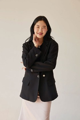 flower button over-fit jacket (black)