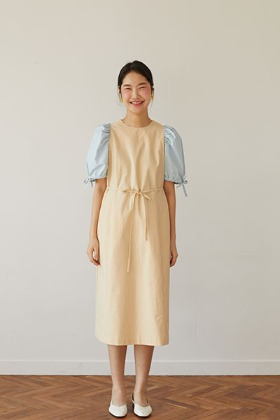color design H-line dress (cream)