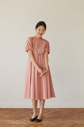 raglan sleeve A-line dress (pink)