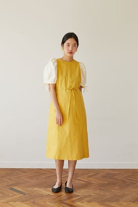 color design H-line dress (yellow)