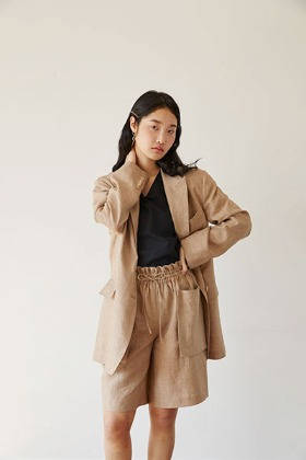 over-fit linen jacket (beige)