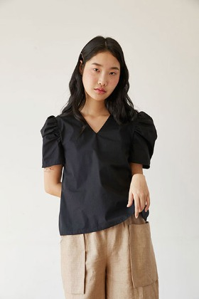 puff sleeve V-neck blouse (black)