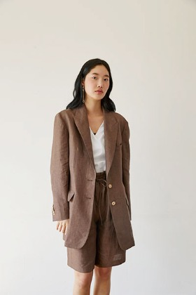 over-fit linen jacket (brown)
