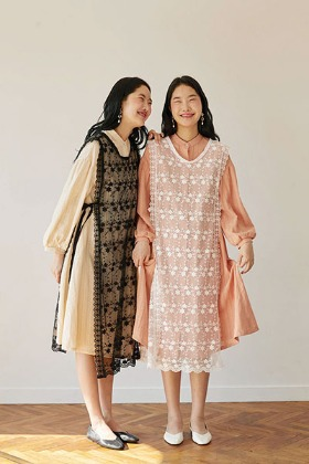 lace layered apron + peach cotton dress set