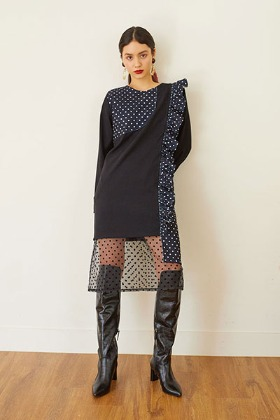dot patchwork dress