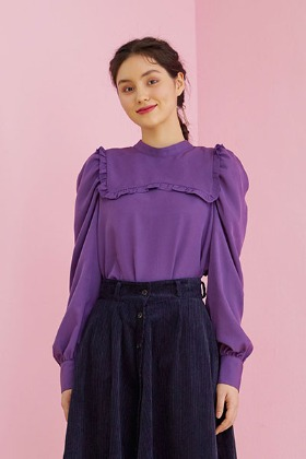 ribbon collar blouse (purple)