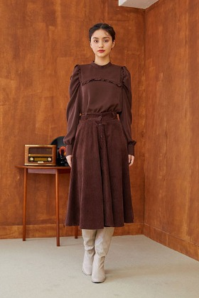 coduroy flare skirt (brown)