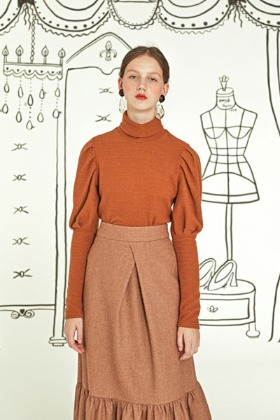 puff sleeve top (brown)