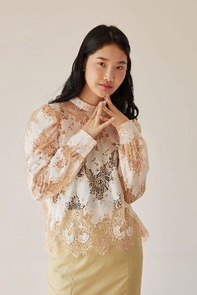 puff sleeve lace blouse (peach)