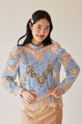puff sleeve lace blouse (blue)
