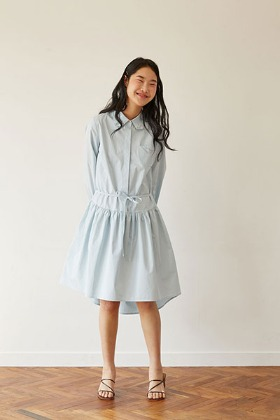 round hem line shirts dress (blue)