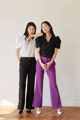 flower button slit pants (2color)