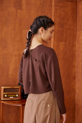 heart pocket blouse (brown)