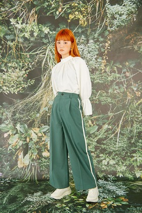 piping wide pants (green)